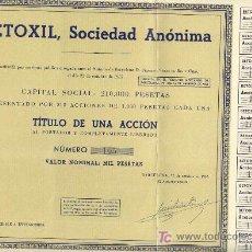 Coleccionismo Acciones Españolas: 1957 BETOXIL SOCIEDAD ANONIMA ACCION MIL PESETAS CON CUPONES. Lote 55524185