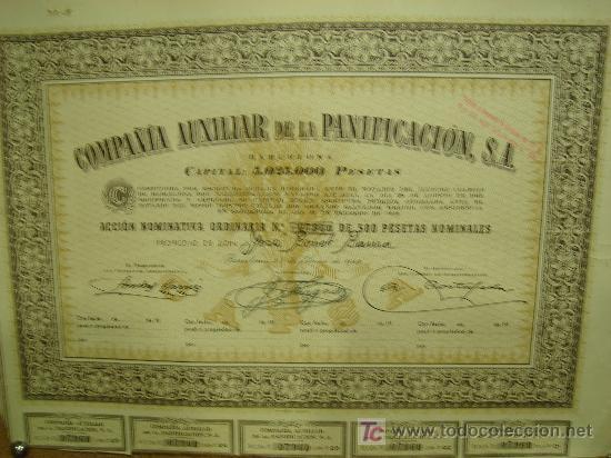 ACCION DE LA COMPAÑIA AUXILIAR DE LA PANIFICACION, S.A. 1949 (Coleccionismo - Acciones Españolas)
