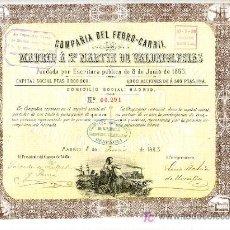 Coleccionismo Acciones Españolas: ACCION COMPAÑIA DEL FERROCARRIL , MADRID A SAN MARTIN DE VALDEIGLESIAS , 1883. Lote 166496858