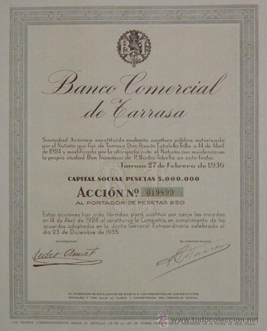 Coleccionismo Acciones Españolas: Banco Comercial de Tarrasa / Terrassa , Barcelona (1936) - Foto 1 - 23733240