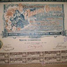 Coleccionismo Acciones Españolas: COMPAÑÍA MADRILEÑA DE ALMACENES GENERALES DE DEPÓSITO Y TRANSPORTES 1906. Lote 24440360