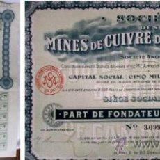 Coleccionismo Acciones Españolas: MINES DE CUIVRE DE CAMPANARIO 1906 (¿BADAJOZ?). Lote 10601683