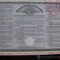 Coleccionismo Acciones Españolas: BANCO POPULAR ESPAÑOL - 1872. Lote 25323944