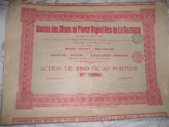SOCIEDAD DE MINAS DE PLOMO ARGENTÍFERO DE LA GUZMANA (ALMERÍA) (Coleccionismo - Acciones Españolas)