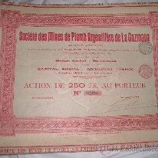 Coleccionismo Acciones Españolas: SOCIEDAD DE MINAS DE PLOMO ARGENTÍFERO DE LA GUZMANA (ALMERÍA). Lote 31982686