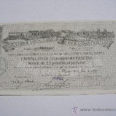 Coleccionismo Acciones Españolas: ANTIGUA ACCIÓN 1894 . TRANVÍA A VAPOR DE MADRID A COLMENAR VIEJO Y RAMAL A CAMARTIN DE LA ROSA .. Lote 21597349