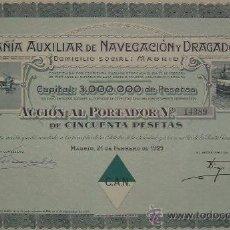 Coleccionismo Acciones Españolas: COMPAÑÍA AUXILIAR DE NAVEGACIÓN Y DRAGADOS, MADRID (1929). Lote 27068359
