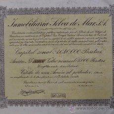Coleccionismo Acciones Españolas: V341.-ACCIÓN Nº 00009 DE 5000 PTAS. INMOBILIARIA SELVA DE MAR, S.A. BARCELONA 1949. Lote 24700620