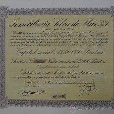Coleccionismo Acciones Españolas: V343.-ACCIÓN Nº 00012 DE 5000 PTAS. INMOBILIARIA SELVA DE MAR, S.A. BARCELONA 1949. Lote 26519689