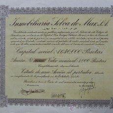 Coleccionismo Acciones Españolas: V344.-ACCIÓN Nº 00010 DE 5000 PTAS. INMOBILIARIA SELVA DE MAR, S.A. BARCELONA 1949. Lote 27332001