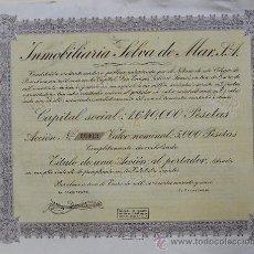 Coleccionismo Acciones Españolas: V345.-ACCIÓN Nº 00013 DE 5000 PTAS. INMOBILIARIA SELVA DE MAR, S.A. BARCELONA 1949. Lote 27331989