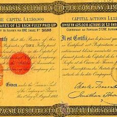 Coleccionismo Acciones Españolas: HUELVA: THE THARSIS SULPHUR & COPPER COMPANY (1883). Lote 24300756
