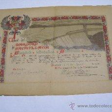 Coleccionismo Acciones Españolas: ACCIÓN DEL CANAL DEL MARQUÉS DE SANTILLANA . SOCIEDAD HIDRAULICA AÑO 1926 . MEDIDAS 38 X 28 CMS. Lote 102586971