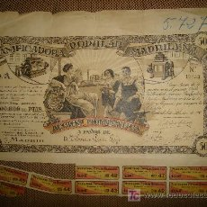 Coleccionismo Acciones Españolas: ACCION PANIFICADORA POPULAR MADRILEÑA. MADRID 1 DE DICIEMBRE DE 1916. Lote 14042427