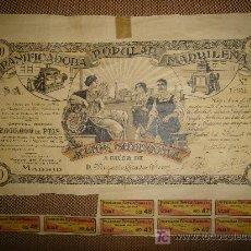 Coleccionismo Acciones Españolas: ACCION PANIFICADORA POPULAR MADRILEÑA. MADRID 1 DE DICIEMBRE DE 1916. Lote 14042436