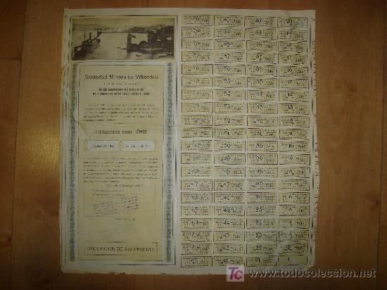 SOCIEDAD MINERA DE VILLAODRID. 1921 BILBAO CON CUPONES (Coleccionismo - Acciones Españolas)