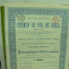 Coleccionismo Acciones Españolas: FERROCARRIL DE SORIA ACCION PRIVILEGIADA 500 FRANCOS. AÑO 1893 CON CUPONES.. Lote 171334877