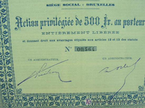 Coleccionismo Acciones Españolas: Ferrocarril de Soria Accion Privilegiada 500 francos. año 1893 con cupones. - Foto 4 - 171334877