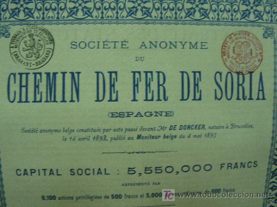 Coleccionismo Acciones Españolas: Ferrocarril de Soria Accion Privilegiada 500 francos. año 1893 con cupones. - Foto 3 - 171334877
