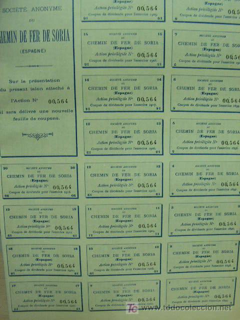 Coleccionismo Acciones Españolas: Ferrocarril de Soria Accion Privilegiada 500 francos. año 1893 con cupones. - Foto 2 - 171334877