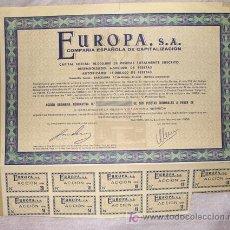 Coleccionismo Acciones Españolas: ACCIÓN - COMPAÑÍA ESPAÑOLA DE CAPITALIZACIÓN EUROPA S.A. - AÑO 1968. Lote 26891274