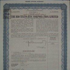 Coleccionismo Acciones Españolas: THE RIO TINTO ZINC CORPORATION LIMITED (1969). Lote 25791283