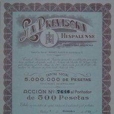Coleccionismo Acciones Españolas: SEGUROS: LA PREVISORA HISPALENSE, SEVILLA (1953). Lote 58688261