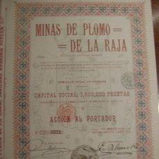 Coleccionismo Acciones Españolas: MINAS DE PLOMO DE LA RAJA (GRANADA, SIERRA DE LÚJAR, VÉLEZ-BENAUDALLA) 1912. Lote 50718833