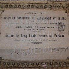 Coleccionismo Acciones Españolas: COMPAÑÍA DE LAS MINAS Y FUNDICIONES DE SANTANDER Y QUIRÓS (CANTABRIA Y ASTURIAS) 1868. Lote 25323933