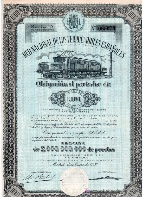 OBLIGACION DE LA RED NACIONAL DE LOS FERROCARRILES ESPAÑOLES. 1000 PESETAS MADRID 1 DE ENERO DE 1956 (Coleccionismo - Acciones Españolas)
