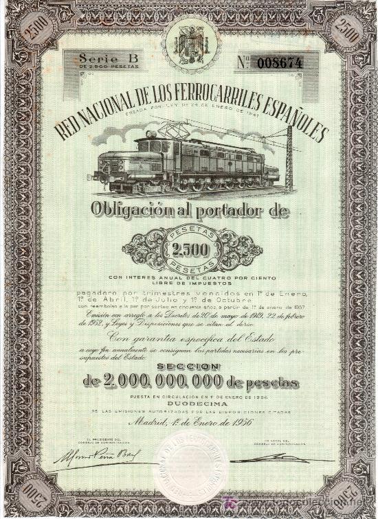 OBLIGACION DE LA RED NACIONAL DE LOS FERROCARRILES ESPAÑOLES. 2.500 PESETAS MADRID 1 ENERO 1956 (Coleccionismo - Acciones Españolas)