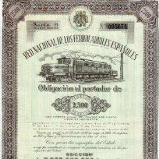 Coleccionismo Acciones Españolas: OBLIGACION DE LA RED NACIONAL DE LOS FERROCARRILES ESPAÑOLES. 2.500 PESETAS MADRID 1 ENERO 1956. Lote 15241149