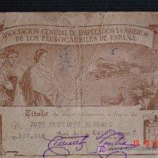 Coleccionismo Acciones Españolas: TÍTULO DE SOCIO.ASOCIACIÓN DE EMPLEADOS Y OBREROS DE LOS FERROCARRILES DE ESPAÑA. 1947 . Lote 27401104