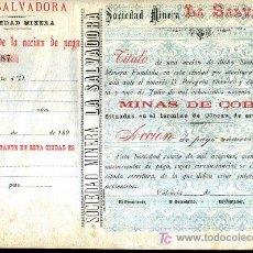 Colecionismo Ações Espanholas: ACCION SOCIEDAD MINERA LA SALVADORA , MINAS DE COBRE , SIGLO XIX , OLOCAU , VALENCIA. SIN FIRMAS.. Lote 49612461