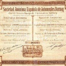 Coleccionismo Acciones Españolas: SOCIEDAD ANÓNIMA ESPAÑOLA DE AUTOMOVILES DARRACQ. Lote 18815507