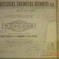 Coleccionismo Acciones Españolas: INDUSTRIAS HARINERAS REUNIDAS. MADRID 1950. Lote 27297987