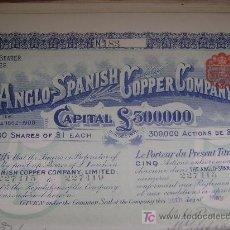 Coleccionismo Acciones Españolas: COMPAÑÍA HISPANO-BRITÁNICA DEL COBRE - THE ANGLO-SPANISH COPPER COMPANY - 1907 (HUELVA). Lote 27512172