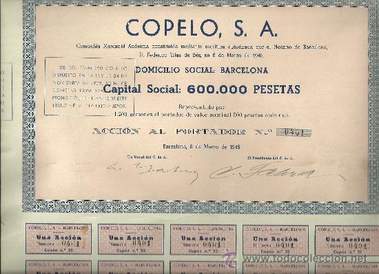 COPELO SA 1946 (Coleccionismo - Acciones Españolas)