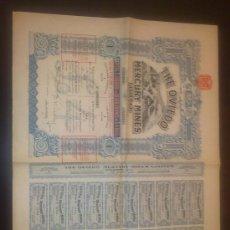 Coleccionismo Acciones Españolas: ACCION MINAS DE MERCURIO DE OVIEDO ( ASTURIAS ) - 1907 - TODOS LOS CUPONES. Lote 110240227