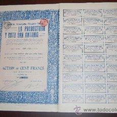 Coleccionismo Acciones Españolas: LOTE 40 ACCIONES LINARES JAEN MINAS LA PRODUCTORA Y COTO SAN ANTONIO , S.A.1913 TODOS LOS CUPONES. Lote 110240978