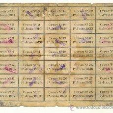 Coleccionismo Acciones Españolas: 35 CUPONES DE UNA OBLIGACIÓN DE LOS FERROCARRILES DE MALLORCA DEL AÑO 1911. Lote 23117258