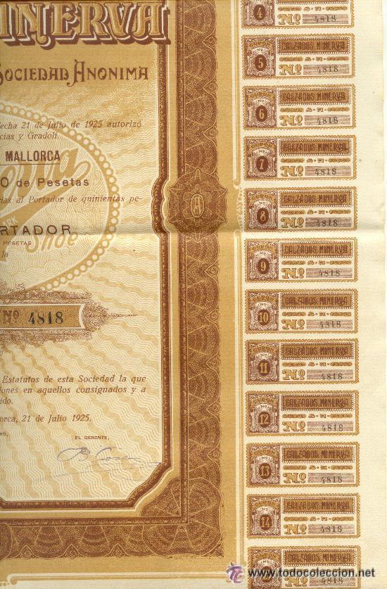 Coleccionismo Acciones Españolas: MUY BONITA ACCION 500 PESETAS CALZADOS MINERVA 1925 PALMA DE MALLORCA - Foto 2 - 23117261