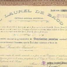 Coleccionismo Acciones Españolas: ACCIÓN 200 PTAS. AÑO 1925 EL LAUREL DE BACO MADRID. Lote 23154373
