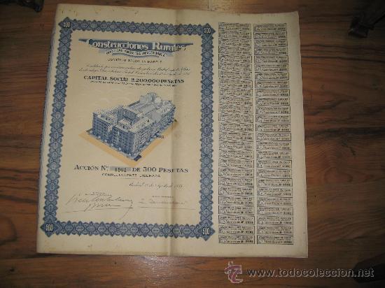 ACCION 500 PESETAS. MADRID 1935- CONSTRUCCIONES RURALES S.A. INMOBILIARIA (Coleccionismo - Acciones Españolas)