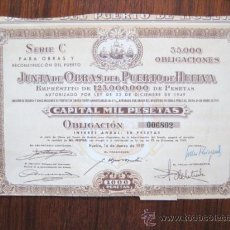 Coleccionismo Acciones Españolas: ACCION JUNTA DE OBRAS DEL PUERTO DE HUELVA. 1951 ENVIO GRATIS¡¡¡. Lote 18980161