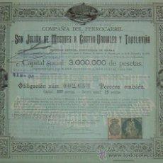 Coleccionismo Acciones Españolas: FERROCARRIL DE SAN JULIÁN DE MUSQUES (MUSKIZ VIZCAYA) A CASTRO URDIALES Y TRASLAVIÑA, CANTABRIA 1901. Lote 26541669