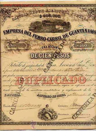 ACCION DE LA EMPRESA DEL FERROCARRIL DE GUANTANAMO (1877) (Coleccionismo - Acciones Españolas)