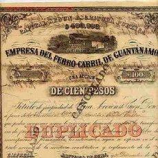 Coleccionismo Acciones Españolas: ACCION DE LA EMPRESA DEL FERROCARRIL DE GUANTANAMO (1877). Lote 27437912