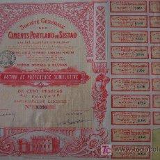 Coleccionismo Acciones Españolas: ACCION SOCIEDAD GENERAL DE CEMENTOS PORTLAND DE SESTAO . ACCION PREFERENTE . Lote 46993468