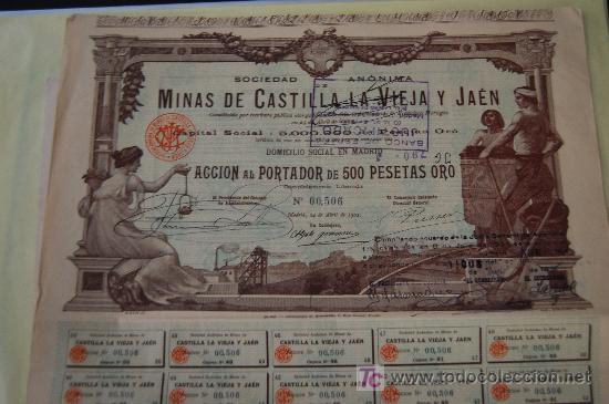 ACCION MINAS MINES MINING MINAS DE CASTILLA LA VIEJA Y JAEN. ACCION 500 PTA ORO. MADRID 1902 (Coleccionismo - Acciones Españolas)